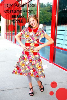 #BrassyApple: #DIY girls Halloween #Costume - paper doll #RedBarnFeature