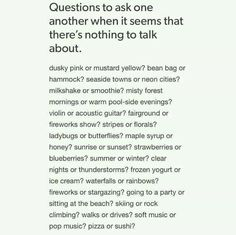 Questions to ask eachother when it seems that there's nothing to talk about Conversation Topics, Conversation Starters, Writing Tips, Writing Prompts, Getting To Know Someone, Les Sentiments, New Energy, Pretty Words, Journal Prompts