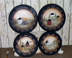 Stove Burner Covers Primitive Folk Art Saltbox  OFG by raggedyjan, $39.98  ~~~SOLD~~~ Primitive Plates, Primitive Folk Art, Primitive Country, Primitive Crafts, Pintura Country, Arte Country, Country Crafts, Decorative Painting Projects, Tole Painting Patterns