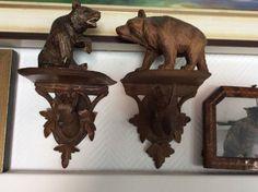 Antique BLACK FOREST fine CARVED bear Ram Brienz German wall shelf console cabin