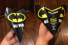 Custom Batman Paper Airplane Invitation - Personalize Words, Font, Colors and More! Perfect for Birthdays, Showers, Office Parties, etc!
