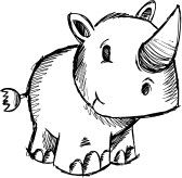 Doodle Sketchy Safari Rhino  stock photography