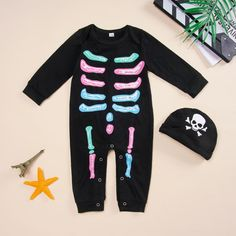 Infant Boy Black Skeleton Jumpsuit - anmino Baby Boy Jumpsuit, Baby Boy Romper, Infant Classroom, Baby Development, Baby Art, Infant Activities, Baby Crafts, Online Clothing Stores, Baby Pictures