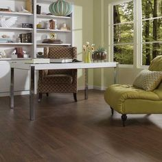 Daltile Timberland 9 x 36 and 6 x 36 field tile on the floor. Available at WCT Design Flooring. Wood Tile Floors, Wood Look Tile, Stone Flooring, Flooring Ideas, Wood Planks, Kitchen Flooring, Floor Design, House Design, Dal Tile