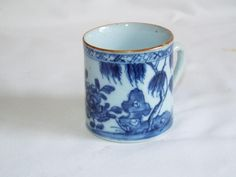 Antique Chinese blue painted porcelain mug.good condition with no cracks but two small footrim chips,small firing crack to top side of handle .£56