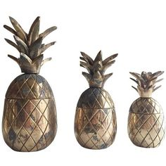 Vintage Brass Pineapple Trinket Holders - Set of 3 (€115) ❤ liked on Polyvore featuring home, home decor, small item storage, baskets, brass basket, jewellery holder, jewelry holder, pineapple home decor and brass holder