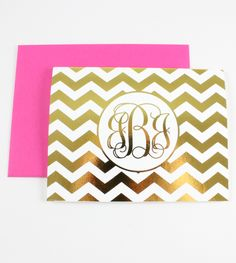 These chevron monogram note cards are perfect for writing thank you notes, love notes or just because notes! 10 personalized folded note cards 5.5 x 4.25 inches (A2) Inside is blank Printed on heavy cardstock in either silver or gold foil Comes with the envelope color of your choice and packaged in our signature packaging […]