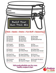 Build Your Own Trail Mix printable from Produce for Kids