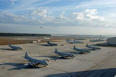 P-3C Orion and P-8A Poseidon aircraft occupy the flight line at Naval Air Station Jacksonville.