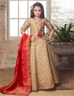 Shop Beige colored party wear lehenga choli online from India. Half Saree Designs, Choli Designs, Blouse Designs, Lehenga For Girls, Kids Lehenga Choli, Party Wear Lehenga, Party Dress, Lehenga Choli Online, Dresses Kids Girl
