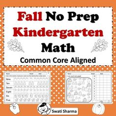 Fall/Autumn No Prep Kindergarten Math Packet, Distance Learning by Swati Sharma Number Worksheets, Printable Worksheets, Addition Words, Math Vocabulary, Classroom Displays, Word Problems, Kindergarten Math, Teacher Resources, Prepping