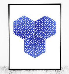 Blue Scandinavian Print Scandinavian Art Blue by CristylClear