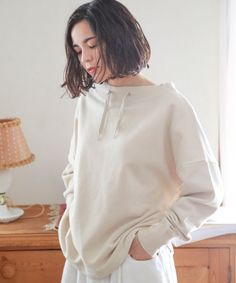 USAコットンハイネックプルオーバー | [公式]ニコアンド(niko and ...)通販 Latest Outfits, Edgy Outfits, Comfy Casual, Comfortable Outfits, Hoodies, Sweatshirts, Cotton Linen, Loungewear, Niko And
