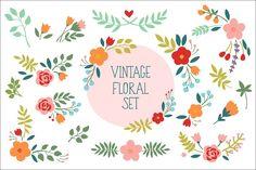 Vintage Floral Set by Maria Galybina on @creativemarket