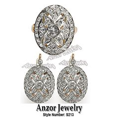 14k Solid Rose and White Gold Genuine Diamond Ring & Earrings Russian Style Jewelry Set, Style Number: S213