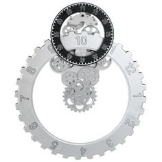 Spinning Rotary Gear Wall Clock - Silver Rotary, Spinning, Gears, Clock, Wall Decor, Sky, Silver, Hand Spinning, Watch