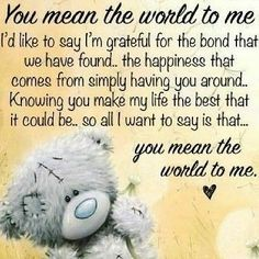 Always want to be in this world only. Special Friend Quotes, Best Friend Quotes, Friend Poems, Thinking Of You Quotes, Love Quotes For Him, Tatty Teddy, Teddy Bear Quotes, Hug Quotes, Qoutes