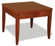 "Coffee Table SKU: ALPD103 $360.00  Dimensions: 24""W x 24""D x 20""H   Finishes: Cherry, Mahogany http://www.officesourcefurniture.com/products/product_view/reception_room-and-lounge/OfficeSource_by_Rudnick/Contemporary_Reception_Collection/ALPD103/"