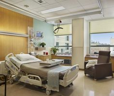 Patient room design should have a clear floor area for patient lifts. Credit © Halkin Photography LLC.
