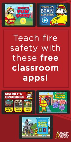 Add these free Sparky the Fire Dog apps to your classroom iPads and teach your kids about fire safety! Sparky The Fire Dog, Dog Apps, Brain Busters, Fire Safety Tips, Fire Prevention Week, Fun Brain, Save Life, Ipads, Lesson Plans