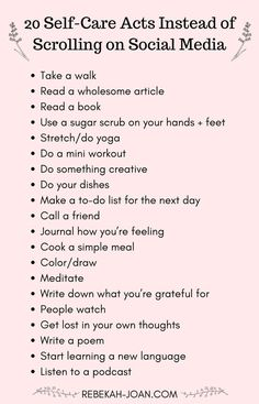 Social media can take a huge toll on our mental health. Stop playing the comparison game and get OFF of social media with these self-care habits that you can do instead. (Image with a list of 20 Self-Care Acts Instead of Scrolling on Social Media) health Motivacional Quotes, Drake Quotes, Wisdom Quotes, Life Quotes, Vie Motivation, Health Motivation, Stress, Self Care Activities, Mental Health Activities