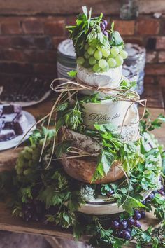 Cheese Tower Wedding Cake Covered in Grapes   DIY Decor   Rustic Barn Wedding   Humanist Ceremony   Blessing   Claire Penn Photography   http://www.rockmywedding.co.uk/chloe-tom/