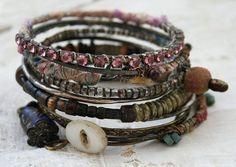 Bangle Stack 94 set of 10 Bangles urban gypsy by TuscanRose Cross Jewelry, Cute Jewelry, Jewelry Crafts, Jewelry Art, Handmade Jewelry, Artisan Jewelry, Jewelry Ideas, Bangle Bracelets, Bangles