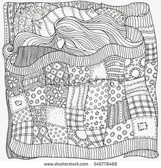 Pattern for coloring book. Sleeping baby. Artistically ethnic patterns. Hand-drawn, ethnic, retro, doodle, vector, zentangle, tribal design element.