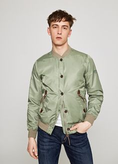 BASIC BOMBER 'BOUNDARY' Pepe Jeans, Military Jacket, Bomber Jacket, Shirt Dress, Coat, Mens Tops, Jackets, Shirts, Fashion