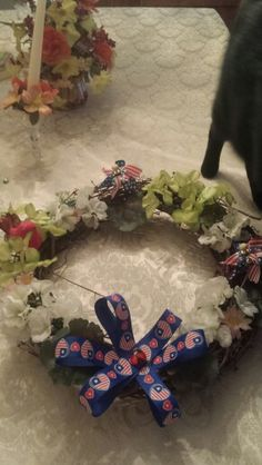 Spring--Summer wreath I made for Dad's grave..2016