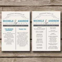 Rustic Country State // Wedding Program