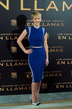 Jennifer Lawrence in cobalt McQueen. this dress!
