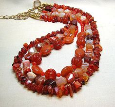 Chunky gemstone nugget necklace Rust agate nugget and carnelian necklace Multi layer necklace Semi precious stone necklace Office jewelry
