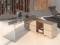 Bureau. Mod. OPORTO Bureau Design, Porto, Couches, Mesas, Glass Office, Glass Tray, Footlocker, Drawer