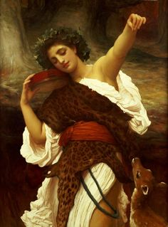 Bacchante by Lord Frederic Leighton, 1895. Bacchantes were the female followers of Bacchus, the god of wine and harvests, in Roman mythology. They were known as maenads in Greek mythology, where Bacchus' counterpart was Dionysus.