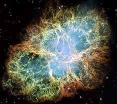 SN (supernova remnant) 1054, also known as the Crab Nebula. CLARIFICATION: Nebulae are clouds of dust in space, usually, but not always, left over from as star exploding/dying. A supernova is the actual explosion.