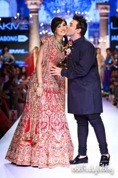 Nargis with Suneet Varma Spring Couture 2015 Lakme Fashion Week