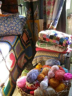 motleycraft-o-rama:  Here is some yarn and blankets by meetmeatmikes on Flickr.