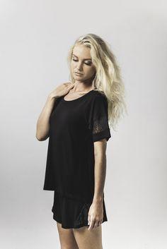 jacqui lace trim sleep tee in black & bex lace trim sleep short in black available now @ marceau.com.au Pyjamas, Summer 2015, Lace Trim, Sleep, Range, Shirt Dress, Shirts, Beautiful, Black