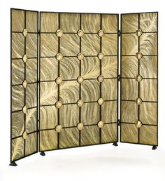 THIS ARRESTING SCREEN BY LA FORGE DE STYLE DEPICTS THE DETAILED STRANDS OF A FEATHER, ACCENTED BY GOLDEN STUDS | @maisonobjetusa miami 2015 preview @totalhomeview