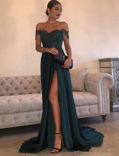 Off Shoulder Sweep Evening Pageant Gown Formal Celebrity Bridesmaid Prom Dress