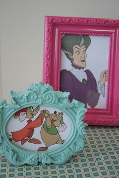 """Print out pictures of the characters and frame them, just like they would be in a """"real"""" home. Cute!"""