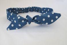 Polka Dot Baby Headband || Denim Baby Headband | Baby Girl Headband | Baby Top Knot | Baby Bow Headband | Handmade Headband | Blue Headband by littlefolkproject on Etsy https://www.etsy.com/au/listing/571522909/polka-dot-baby-headband-denim-baby
