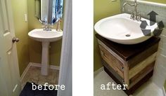 thetadbiteclectic : before and afters / pedestal sink to a vessel sink / pallets / bathroom transformation on a budget | Muebles | Pinterest | Baños, Baño y Mu…
