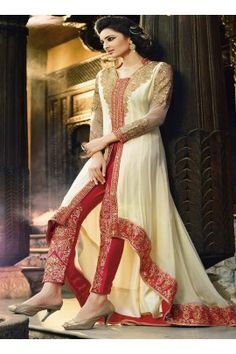Red White Georgette Designer Long Salwar Suit
