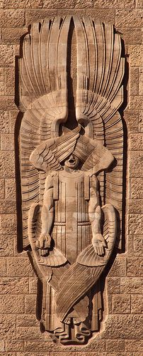 """Isaiah was given a magnificent vision of the Lord's throne, surrounded by these seraphs  - """"Above it stood the seraphims: each one had six wings; with twain he covered his face, and with twain he covered his feet, and with twain he did fly"""" (Isa. 6:2).  Bas Relief, Jerusalem YMCA"""