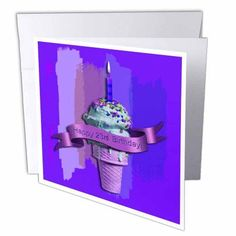 3dRose Happy 23rd Birthday, Ice Cream Cone on Abstract, Purple, Greeting Cards, 6 x 6 inches, set of 6