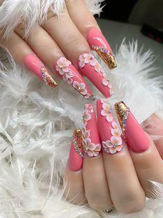 3d Flower Nails, Hair Ponytail Styles, Bridal Nail Art, Red Nail Designs, Sparkle Nails, Long Acrylic Nails, Gorgeous Nails, Braces, Pink Nails