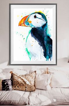 Puffin watercolor painting print Puffin art Puffin by SlaviART