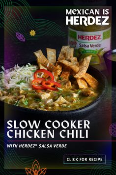 Take it slow, make it easy- add a splash of spice with Salsa Verde in and stew it nice and steady. Slow Cooker Chili, Slow Cooker Chicken, Slow Cooker Recipes, Crockpot Recipes, Chicken Recipes, Cooking Recipes, Soup Recipes, Mexican Dishes, Mexican Food Recipes